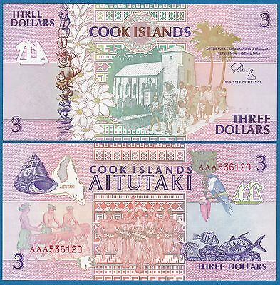 Cook Islands 3 Dollars P 7 ND (1992) UNC Low Shipping! Combine FREE  Frefix AAA