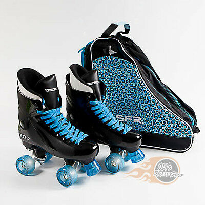 Ventro Pro Turbo Quad Roller Skates - Bauer Style - Glitter Light Up Wheels
