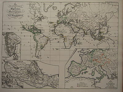 1846 SPRUNER ANTIQUE HISTORICAL MAP ~ SPAIN & PORTUGAL POSSESSIONS 16th CENTURY