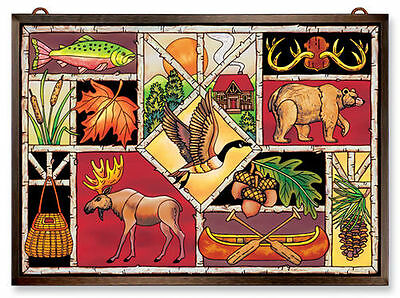 """Amia Stained Glass 15.5"""" X 11"""" Lodge Collage Window Panel #9766"""