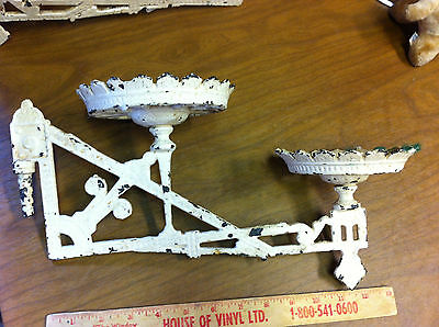 Vintage, Double oil lamp, Holders, Cast, Pair