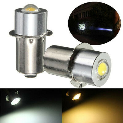 P13.5S PR2 1W Warm/White Led FlashLight Bulb High Brightness Lamps 90lm DC 18V F