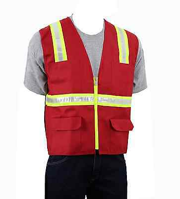 Safety Depot Two Tone Red Reflective Surveyor Safety Vest with Zipper and Pocket