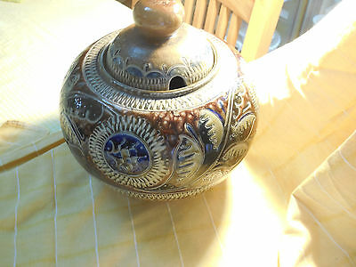 Large Stoneware Jar or Tureen Germany Dated 1878 Handarbeit With Original Lid