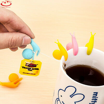 10 pcs Cute Snail Shape Silicone Tea Bag Holder Cup Mug Candy Colors Gift