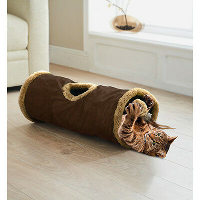 Intant Pop Up Cat / kitten play Tunnel - Brown With Feather Teaser Toy NEW