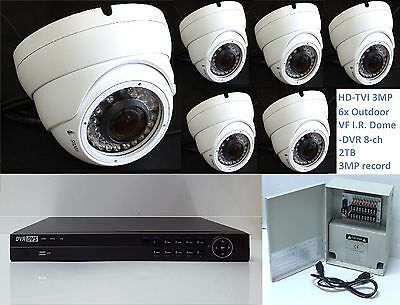 HD-TVI 3MP  Camera system Professional 6x 3MP IR Outdoor Domes, 8 channel DVR