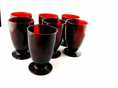 Royal Ruby Footed Glasses Anchor Hocking Ice Tea / Water 7pcs 1 has chip on rim
