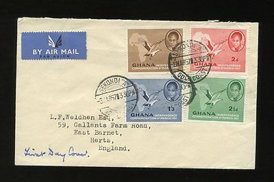 Ghana 1957 First Day Cover Independence Set Sekondi A Cancels...birds