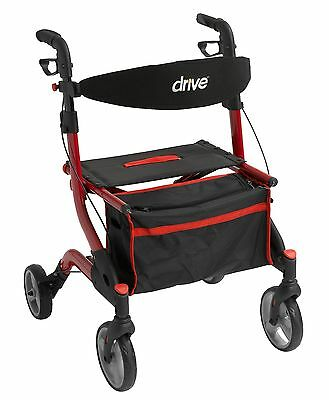 """I-Walker Euro Aluminum Rollator Walker with 7"""" Casters Color: Red by Drive"""