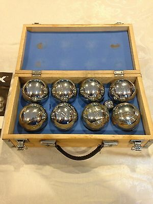 Logix Bocce Ball Game Set METAL CHROME w/Wood Carry Case & Instructions