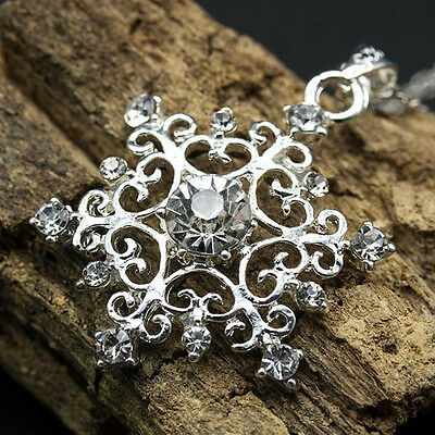 Women Beautiful 925 Silver Plated Cubic Zirconia Snowflake Necklace Pendant New