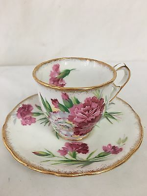 Royal Stafford Bone China Carnation Teacup and Saucer