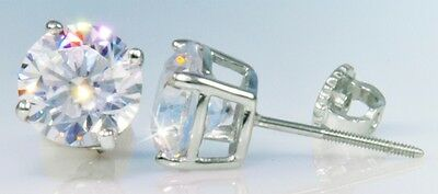 3 ct tw Screwback Earrings Top CZ Moissanite Simulant Solid Sterling Silver