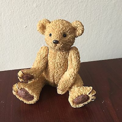 Teddy Bear Statue Jointed Porcelain Adjustable Tan Brown Figure 3""
