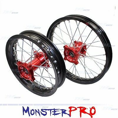 """Red 15Mm Rims Dirt Racing 14"""" Front 12"""" Rear Alloy Rim Thumpstar Pit Bike150 160"""