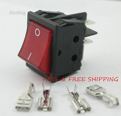 Canal R Series Rocker Switch Red Illuminated Double Pole 20A 16A