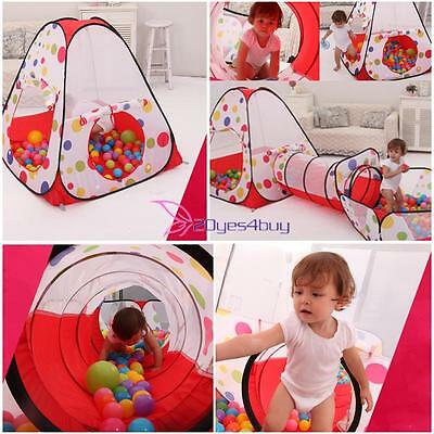 3In1 Kids Indoor Play Tent Folding Playhouse Tents Tunnel Ball Pit Toy Xmas Gift