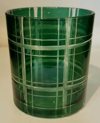 Yankee Candle Holiday Libations Green Plaid Votive Candle Holder New !