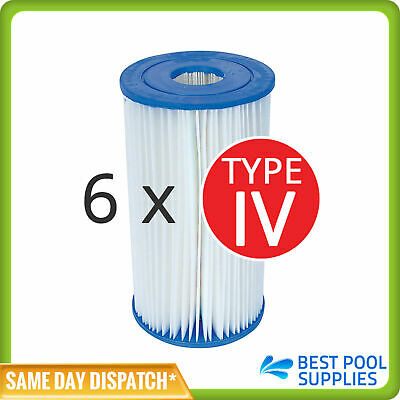 6 x Bestway Cartridge Filter Element Type IV for 2500gal Filter Pumps - 58095