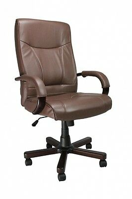 Eliza Tinsley High Back Leather Executive Armchair with Mahogany Effect Arms and