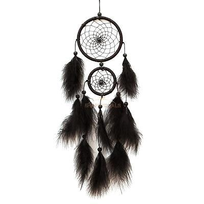 Black Feater Handmade Dream Catcher Car Wall hanging Crafts Gift  #EAL