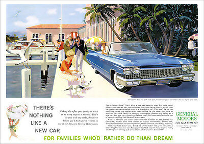 1960 Cadillac Series 62 Convertible Retro A3 Poster Print From Advert 1960