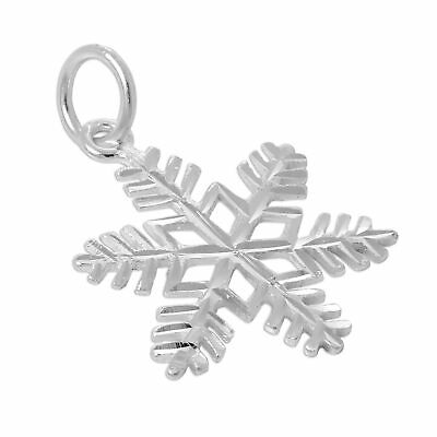 Large Sterling Silver Diamond Cut Snowflake Charm Snow Christmas Winter Charms