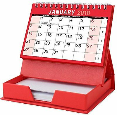 2018 Month To View Spiral Stand Up Desk Top Calendar With 80 sheet Memo Pad New
