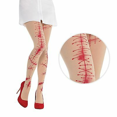 Ladies Bloody Stitched Nude Tights Zombie Stitch Surgery Nurse Doll Halloween UK