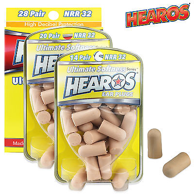HEAROS EAR PLUGS ULTIMATE Softness Sleep Snore Soft Foam NRR 32dB - FREE UK P&P!