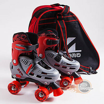 SFR Hurricane Adjustable Quad Roller Skates Boys Red - Optional Skate Bag