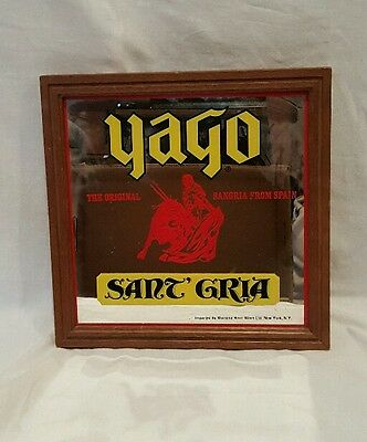 "Vintage Yago Original Sangria Spain Sant' Gria Rare Mirror Bar Sign 13.5""x13.5"""