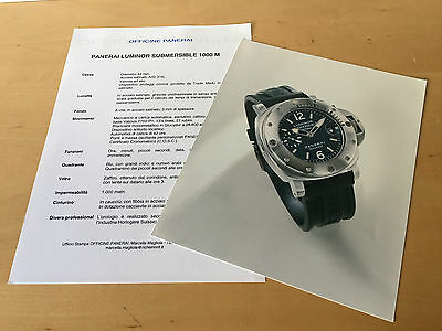 Press Kit PANERAI Luminor Submersible 1000m Picture + Details Watch NOT Included