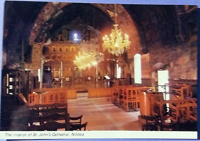 Cyprus postcard:The Interior of St. John's Cathedral, Nicosia, unposted.