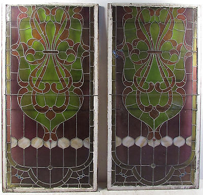 Pair of Large Vintage Stained Glass Windows (3847)NJ