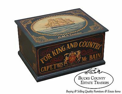 Hand Painted Nautical Battleship Lidded Chest Box Trunk HMS Leander (B)