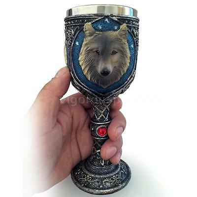 Unique Novelty Resin Stainless Steel 3D Wolf Goblet Mug Beer Wine Cup Gift L5A7