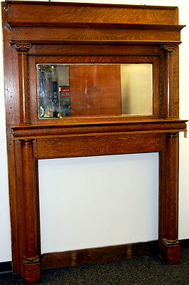 Antique 1900s Quarter Sawn Oak Full Fireplace Mantel, Architectural Salvage