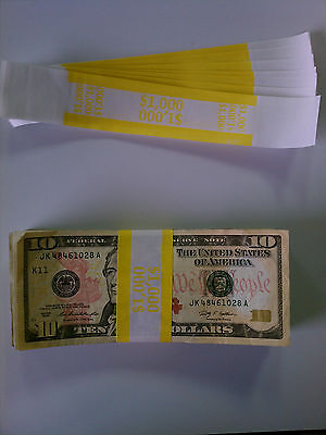 2000 - New Self-Sealing Currency Bands - $1000 Denomination - Straps Money Tens