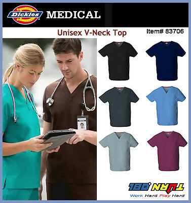 NWT Dickies Medical Scrub EDS 83706 Unisex V neck matching with Drawstring Pants