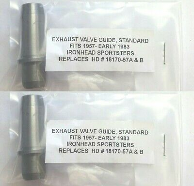TWO CAST EXHAUST VALVE GUIDES .002 HD IRONHEAD XL XLH SPORTSTER 57-83 18170-57A