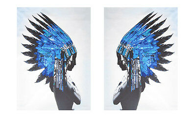 2x  street art Print blue indian  Feather Native American  Poster Wall decor