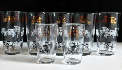 Vintage Mid Century 7 Piece Drinking Glass Set Black Gold White Retro Carriages
