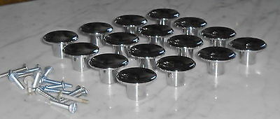 16 Vintage Mid Century Amerock 1 1/2in Concave Chrome Cabinet Door Drawer Pulls