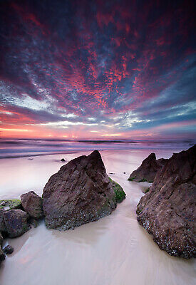 Australian Burleigh Beach rocks ocean art seascape print  photograph coastal