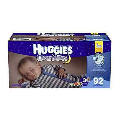 Huggies Overnites Diapers Size 3 Overnight Protection Comfy Dry Fit 92 Count New