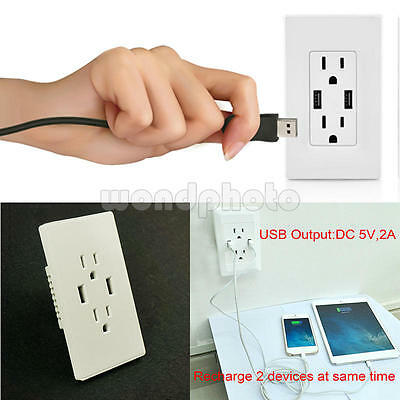 AC Power Adapter Socket Dock Station With 2 Port USB Wall Charger Outlet Plate