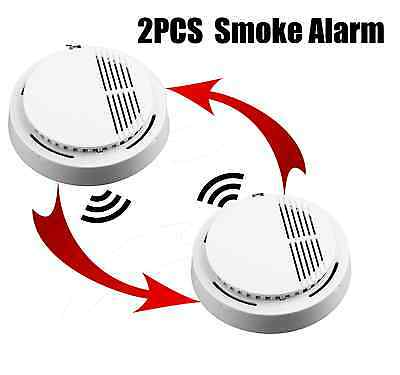 2 Pcs Smoke-Detector Fire-Sensor Alarmsystem Home Security System OS