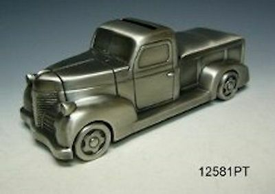 Pewter Pick Up Truck Money Box, Moving Wheels! - Great Gift Idea